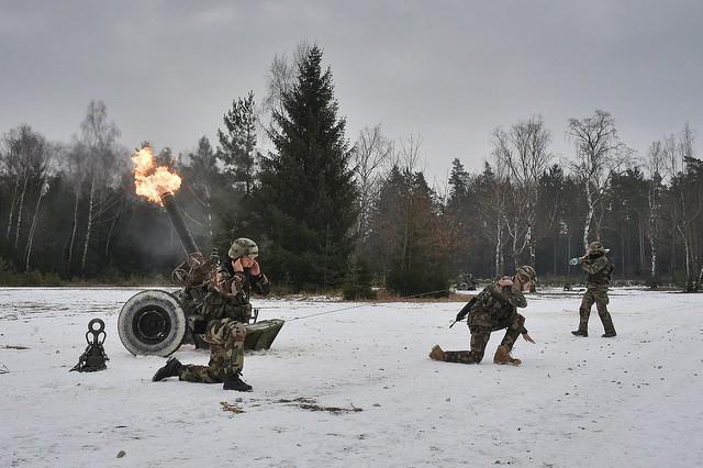 Les mortiers français de 120mm en pleine action cette semaine en Allemagne (U.S. Army - Gertrud Zach)