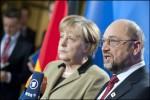 Angela Merkel et Martin Schulz, opposés concernant l'avenir budgétaire de la Bundeswehr (Crédit: European Union 2012 EP/Pietro Naj-Oleari)