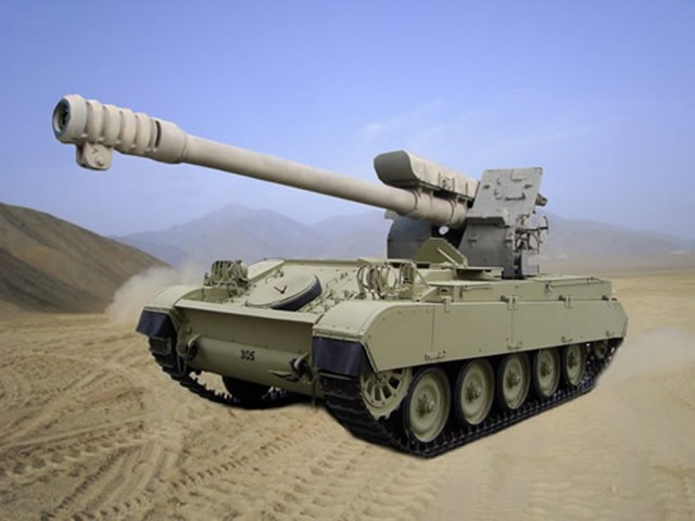 AMX-D30 Vulcano, une conversion de char léger AMX-13 105mm dont la tourelle a été remplacée par un obusier de 122mm (source: Diseños Casanave Corporation S.A.C)