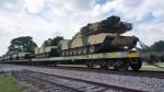 M1A1 Abrams en camouflage marocain, e cours d'acheminement par train vers la côte est-américaine (Source photo: Youtube)