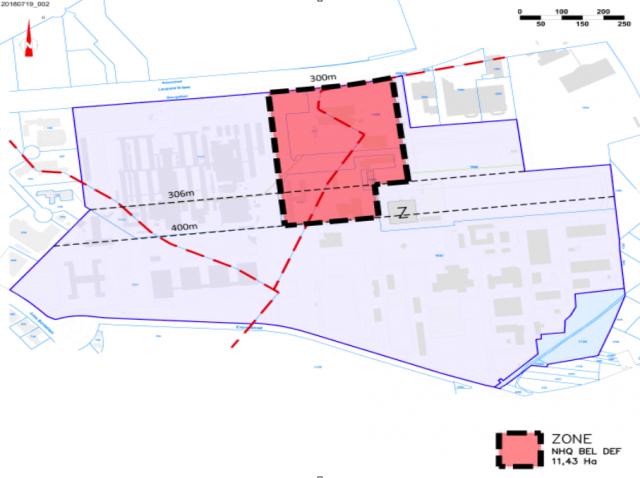 Le prochain QG de la Défense belge sera construit sur cette parcelle en grande partie récupérée sur les anciens terrains de l'OTAN (Crédit: Ministère de la Défense/DGMR)