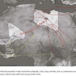 Cette carte présentée dans le rapport illustrant les fluxs d'armement et de personnels armés non-gouvernementaux  répertoriés dans le Sahel de 2011 à aujourd'hui