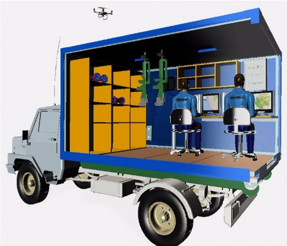 Simulation 3D d'un ATM conçu pour une mission de surveillance (Crédit: Euro-Shelter)