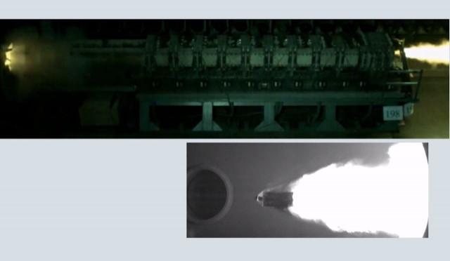 Capture d'écran d'un essai de tir, le projectile est visible sur le cliché du bas (Crédit photo: ISL)