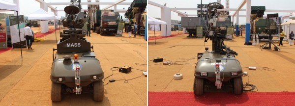 MASS et MARS, deux concepts de robots dévoilés par le DRDO durant Defexpo 2016 (Crédit photo: FOB)