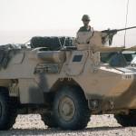 Un VAB 4x4 pendant Opération Desert Shield en 1990-91.