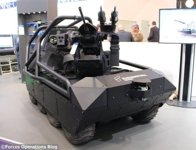 Rare exemple de drone terrestre armé produit en Europe de l'Ouest, le MM UGV de Rheinmetall était présenté la semaine dernière au salon DSEi 2017