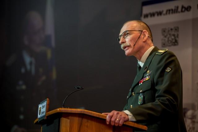 Le général Compernol le 25 janvier dernier lors de son discours de Nouvel An au Musée royal de l'Armée (Crédit photo: ministère de la Défense belge)