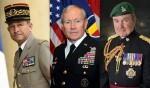 Pierre de Villiers (ancien chef d'État-major des armées françaises), Martin Dempsey (ancien chef d'État-major de l'armée américaine), et Nick Houghton (ancien chef d'État-major de l'armée britannique).  (Photos: ministères de la Défense français, UsS et britannique)