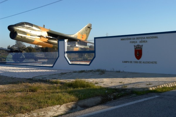 The Alcochete shooting range still guarded by an ancient Portuguese Air Force A-7P Corsair II. Photo credit: Nathan Gain