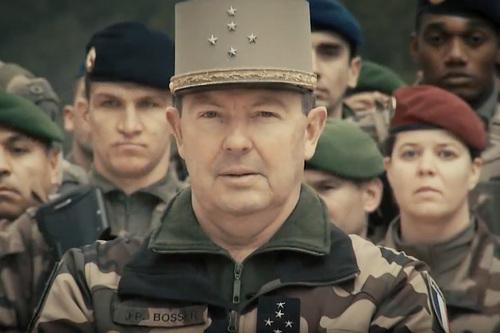 Le chef d'état-major de l'armée de terre, général Bosser, présentant ses voeux 2018 aux armées (Minarm)