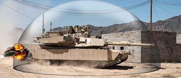 Système APS Trophy imaginé sur un Abrams (Crédits : Leonardo DRS)