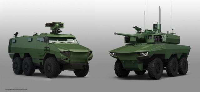 Les véhicules Griffon (gauche) et Jaguar (Crédit: Nexter/Renault Trucks Defense/Thales)