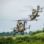 Les deux premiers Tigre HAD du 1er RHC déployés en Centrafrique. Photo EMA