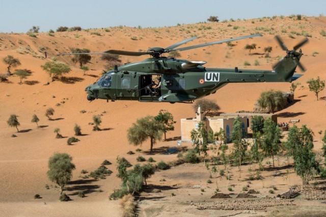 L'est des deux NH90 TTH de la Composante Terre déployés au Mali en 2018 en soutien de la MINUSMA (Crédit : Défense belge/Composante Air)