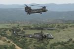 Des hélicoptères Bell-206 et CH-47D de la 1ère brigade d'aviation de l'armée hellénique (Crédits: État-major général de l'armée hellénique)