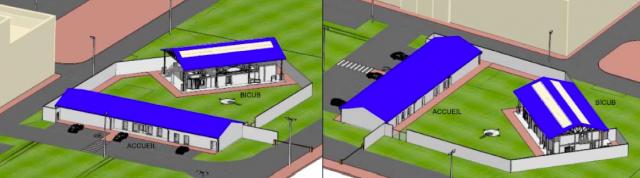 Visuel 3D des bâtiments BICUB et BA2OP du futur pôle prépa ops de Cherbourg (Crédits : ministère des Armées)