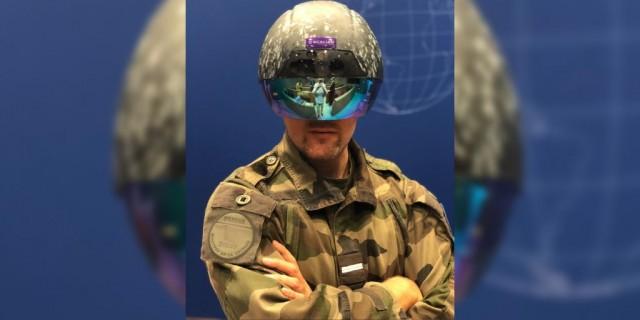 Le casque de réalité augmentée du fantassin RAFT présenté au FID 2018 par l'ETI Scalian (Crédit : ministère des Armées)