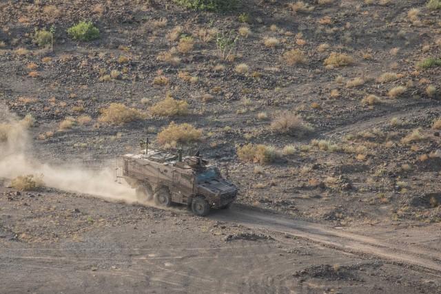 Un Griffon envoyé à Djibouti pour une EVTO par temps chaud (Crédits : armée de Terre)