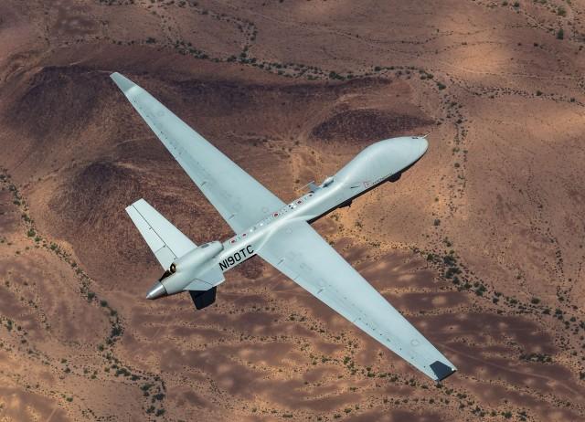 Un drone MQ-9B SkyGuardian conçu par GA-ASI et acquis à quatre exemplaires par la Belgique (Crédit : GA-ASI)