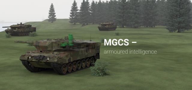 Vue d'artiste de l'intégration du système SETAS sur un Leopard 2 (Crédits: Hensoldt)