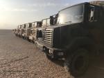 Une poignée de camions GBC 180 des Forces françaises stationnées à Djibouti dans le désert du Grand Bara (Crédits : FOB)