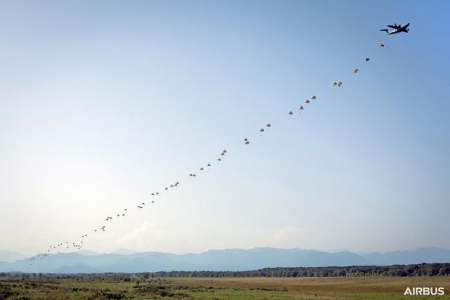Largage simultané de 80 parachutistes, dont quatre belges, par les portes latérales depuis un A400M le 17 septembre 2019 (Crédit : Airbus Defence and Space)