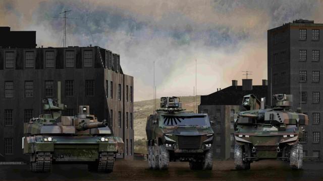 Vue d'artiste des véhicules Leclerc XLR, Griffon et Jaguar du programme Scorpion (Crédits: Nexter)