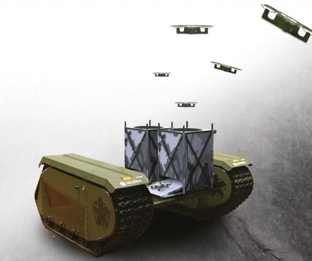 SkyHive intégré au robot estonien THeMIS, évalué depuis un an par la cellule SAR de l'armée néerlandaise (Crédit : Tective Robotics)